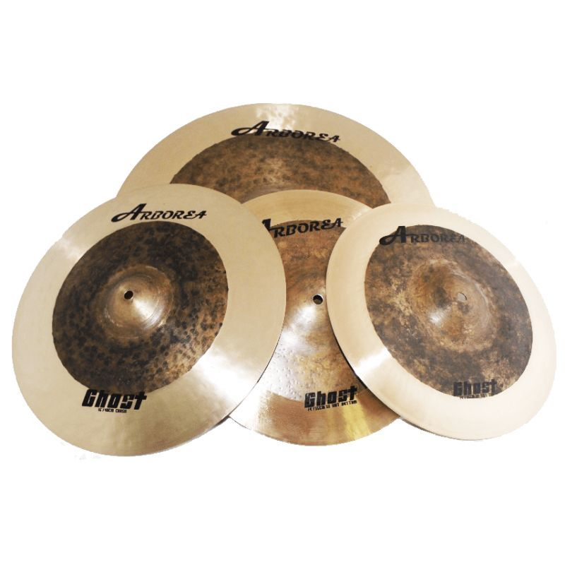 "ARBOREA GHOST SET DE PLATILLOS: 14"" HI HAT + 16"" CRASH + 20"" RIDE + ESTUCHE"